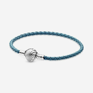 💎💝925 Sterling silver -MOMENTS SEASHELL CLASP BRAIDED BRACELET-POUCH&BAG 001