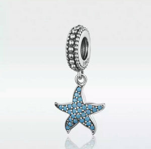 💎💝STERLING SILVER 925💎💝BLUE OCEAN STARFISH Charm+Pouch-C/PAN22