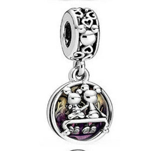 💎💝STERLING SILVER 925💎💝MICKEY & MINNIE HAPPILY EVER AFTER CHARM- C/PAN13