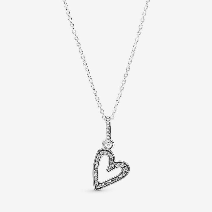 💎💝STERLING SILVER 925💎Sparkling Freehand Heart Pendant Necklace+Pouch-N/PAN05