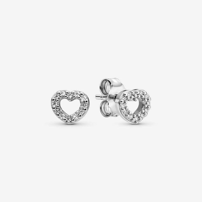 💎STERLING SILVER 925 HALLMARKED💎Open Heart Stud Earrings-E/PAN19