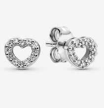 Load image into Gallery viewer, 💎STERLING SILVER 925 HALLMARKED💎Open Heart Stud Earrings-E/PAN19