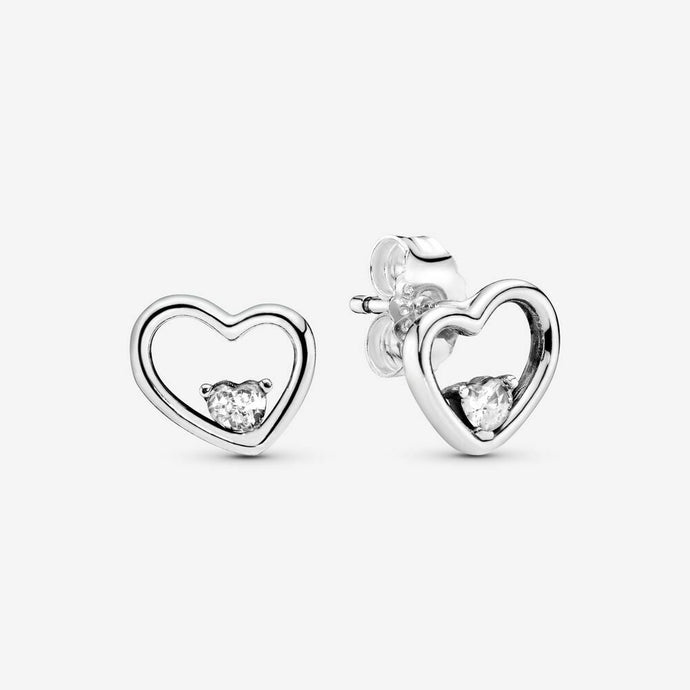 💎STERLING SILVER 925 HALLMARKED💎Asymetric Hearts Of Love Stud Earrings-E/PAN18