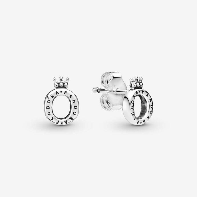 💎STERLING SILVER 925 HALLMARKED💎Polished Crown 'O' Stud Earrings-E/PAN15
