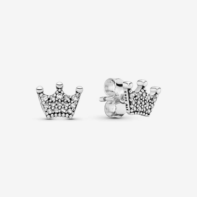 💎STERLING SILVER 925 HALLMARKED💎Enchanted Crown Stud Earrings-E/PAN12