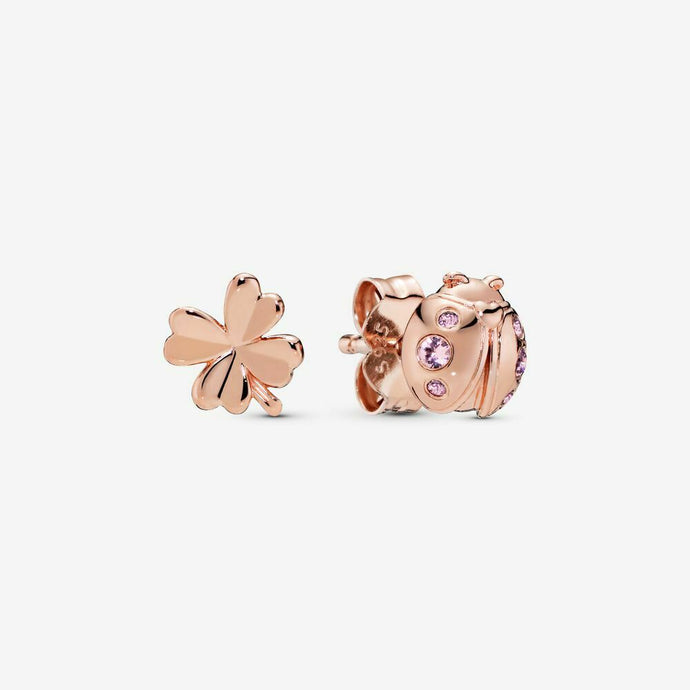 💎STERLING SILVER 925 HALLMARKED💎ROSE GOLD CLOVER & LADYBIRD EARRINGS-E/PAN26