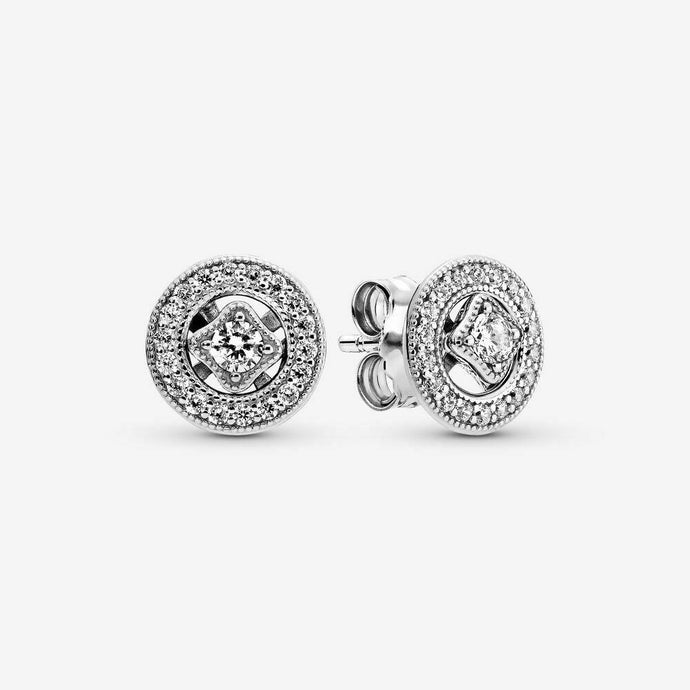 💎STERLING SILVER 925 HALLMARKED💎Vintage Circle Stud Earrings+Pouch (E/PAN06)
