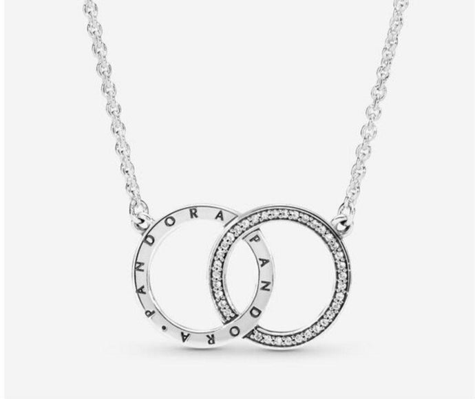 💎💝STERLING SILVER 925💎💝Entwined Circles Logo&Sparkle Necklace+Pouch-N/PAN04