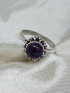 💍STERLING SILVER 925 💍  Small Round Handmade Ring w/Amethyst -R/H10