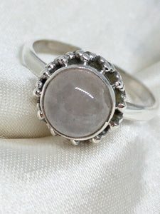 💍STERLING SILVER 925 💍  Small Round Handmade Ring w/Moonstone -R/H12