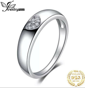 💍STERLING SILVER 925💍Silver Band with CZ Heart Ring+Free Pouch-R/PAN28