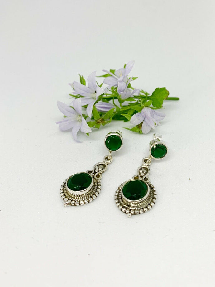 💎STERLING SILVER 925💎Handmade Round with Studs Earrings w/Emerald-E/H07