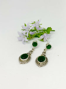 💎STERLING SILVER 925💎Handmade Round with Stud Earrings w/Emerald-E/H07