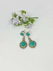 💎STERLING SILVER 925💎Handmade Round with Stud Earrings w/Turquoise-E/H10