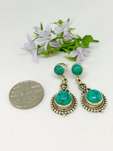 Load image into Gallery viewer, 💎STERLING SILVER 925💎Handmade Round with Stud Earrings w/Turquoise-E/H10