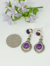 Load image into Gallery viewer, 💎STERLING SILVER 925💎Handmade Round with Stud Earrings w/Amethyst-E/H12