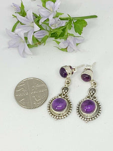 💎STERLING SILVER 925💎Handmade Round with Stud Earrings w/Amethyst-E/H12