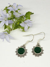 Load image into Gallery viewer, 💎STERLING SILVER 925💎Handmade Round Dangle Earrings w/Emerald-E/H13