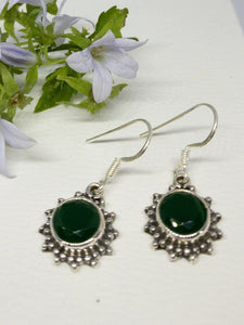 💎STERLING SILVER 925💎Handmade Round Dangle Earrings w/Emerald-E/H13