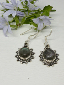 💎STERLING SILVER 925💎Handmade Round Dangle Earrings w/Labradorite-E/H14