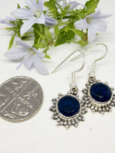Load image into Gallery viewer, 💎STERLING SILVER 925💎Handmade Round Dangle Earrings w/Sapphire -E/H16