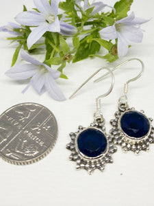 💎STERLING SILVER 925💎Handmade Round Dangle Earrings w/Sapphire -E/H16