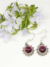 Load image into Gallery viewer, 💎STERLING SILVER 925💎Handmade Round Dangle Earrings w/Ruby -E/H18