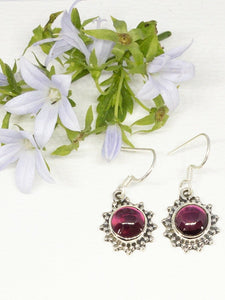 💎STERLING SILVER 925💎Handmade Round Dangle Earrings w/Ruby -E/H18
