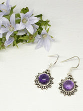 Load image into Gallery viewer, 💎STERLING SILVER 925💎Handmade Round Dangle Earrings w/Amethyst -E/H19