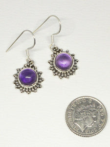 💎STERLING SILVER 925💎Handmade Round Dangle Earrings w/Amethyst -E/H19