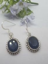 Load image into Gallery viewer, 💎STERLING SILVER 925💎Handmade Oval Dangle Earrings w/Sapphire -E/H24