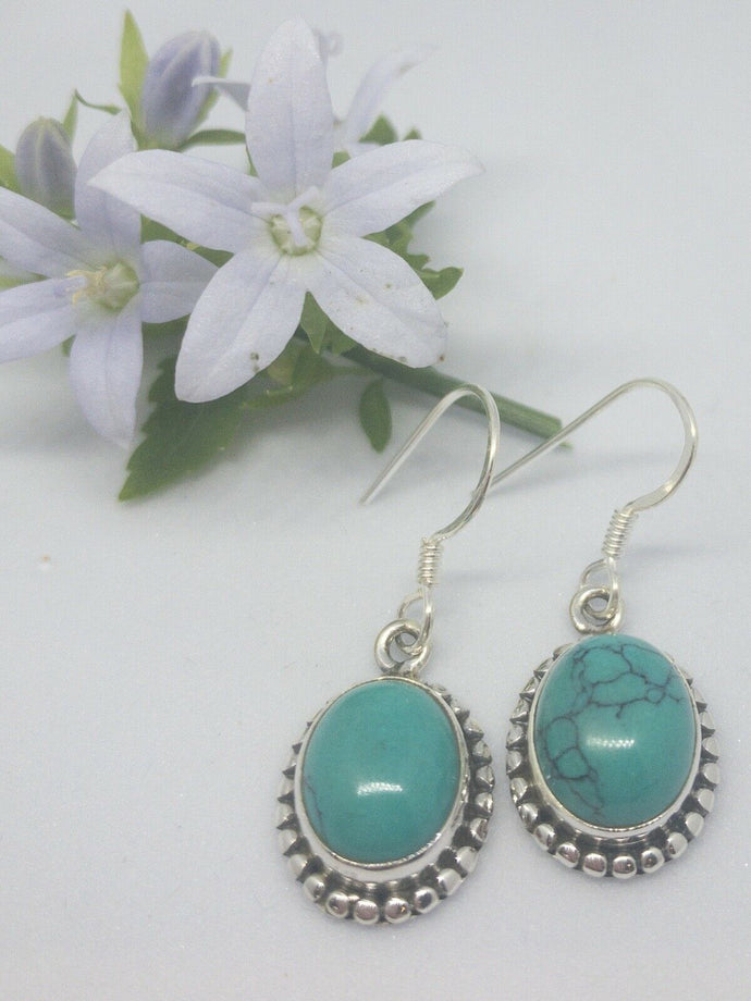 💎STERLING SILVER 925💎Handmade Oval Dangle Earrings w/Turquoise-E/H25