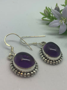 💎STERLING SILVER 925💎Handmade Oval Dangle Earrings w/Amethyst-E/H26