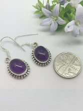 Load image into Gallery viewer, 💎STERLING SILVER 925💎Handmade Oval Dangle Earrings w/Amethyst-E/H26