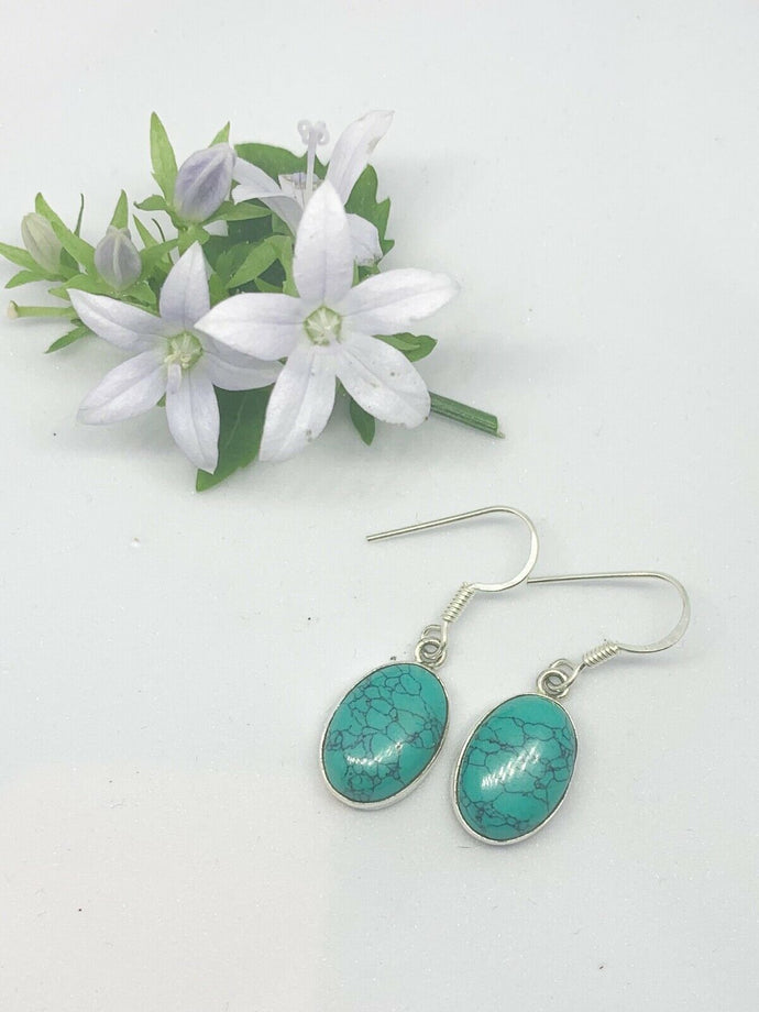 💎STERLING SILVER 925💎Handmade Large Oval Dangle Earrings w/Turquoise-E/H27