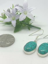 Load image into Gallery viewer, 💎STERLING SILVER 925💎Handmade Large Oval Dangle Earrings w/Turquoise-E/H27