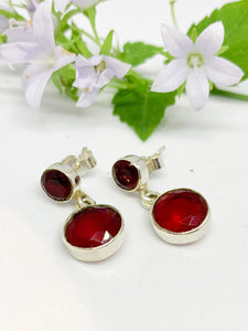 925-sterling silver round stud Earrings-RUBY -E/RSD07
