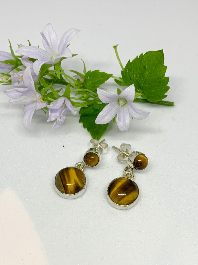 925-sterling silver round stud Earrings-TIGER EYE -E/RSD014