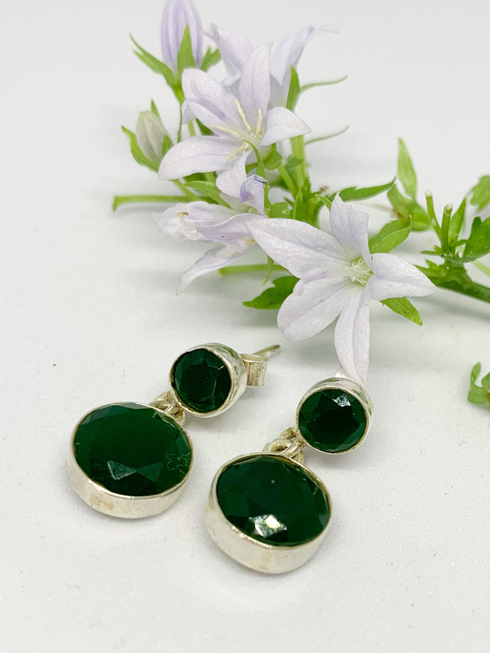 925-sterling silver round stud Earrings-EMERALD -E/RSD01