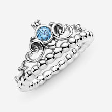 Load image into Gallery viewer, Disney Cinderella Blue Tiara Ring- 925+Gift Pouch & Bag-RPAN28