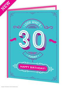 30th birthday greetings card - WoW Balloons Direct