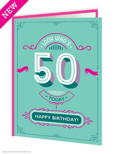50th birthday greeting card - WoW Balloons Direct