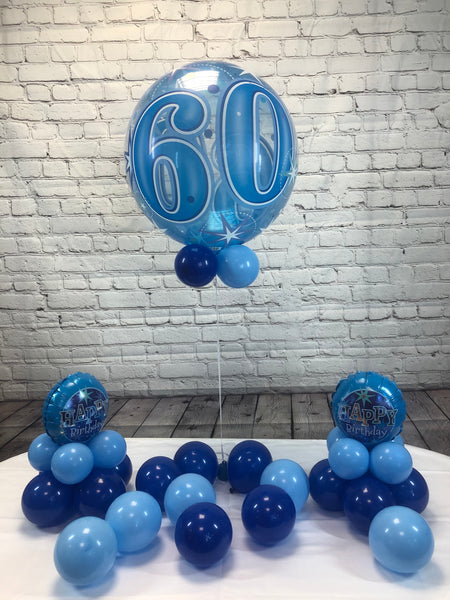 Blue Age 60 Happy Birthday Package - WoW Balloons Direct