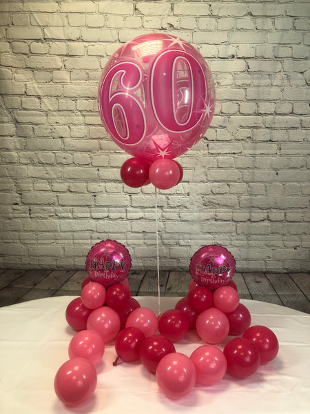 Pink Age 60 Happy Birthday Package - WoW Balloons Direct