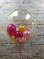 "24"" Clear Gold Spots Bubble Balloon - With Small Balloons - WoW Balloons Direct"