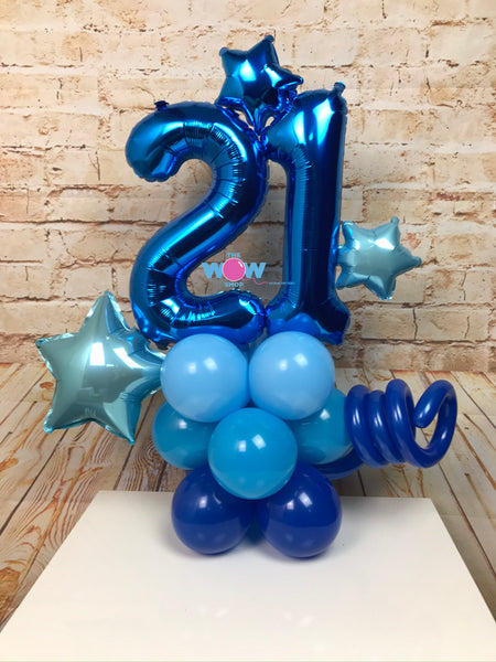 Deluxe Double Number Tower - Blue Number Balloons.