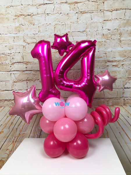 Deluxe Double Number Tower - Pink Balloons.