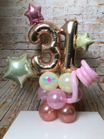 Deluxe Double Number Tower - Rose Gold Number Balloons.