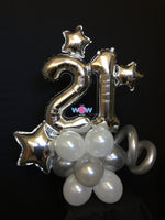 Deluxe Double Number Tower - Silver Number Balloons.