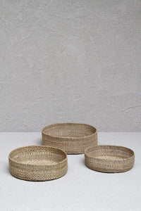 Trio of Round Grass Baskets